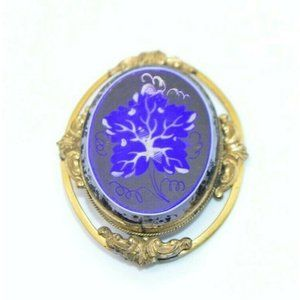 Victorian Gold Filled Blue White Glass Hand Painte